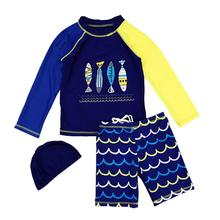 Kids Boys Quick Dry Sunscreen Long Sleeve Swimwear Shorts Hat Surfing Wetsuit quick dry star print surfing swimwear