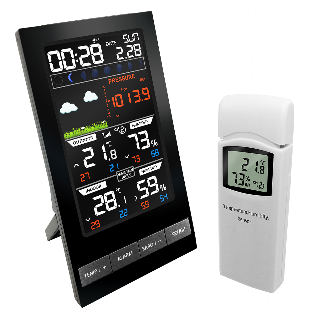Wireless Weather Station 3 Channel Outdoor Digital Thermometer mmHg Barometer Hygrometer Weather Forecast Alarm Clock Dew
