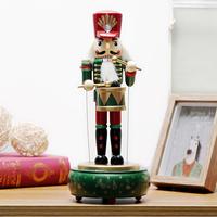 3 Colors Wooden Nutcracker Drummer Music Box Retro Round Musical Case Birthday Gift Vintage   Home   Decoration   Accessories