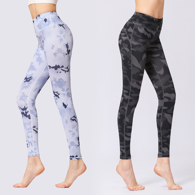 398e228bd445f Women Yoga Pants Leggings Sport Fitness Female Camo Printed Gym Bottoms  Sportswear Slim Running Elastic Soft Flexible Exercise