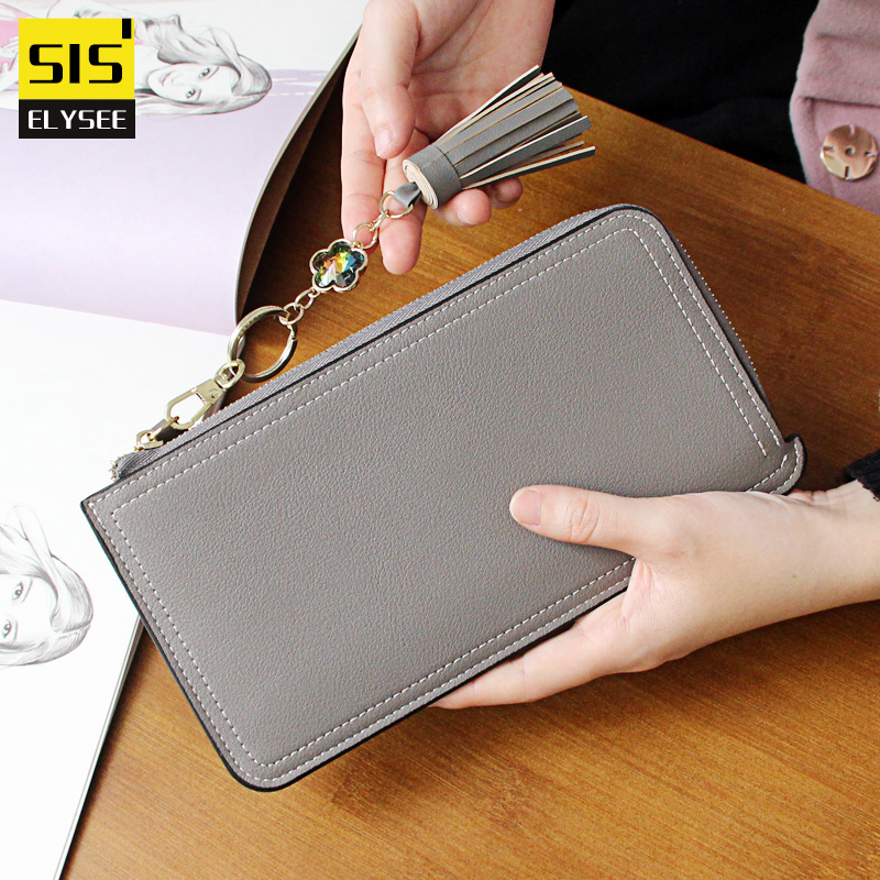 Women Organizer Wallet Brand Long Coin Purse Lady Zipper Strap PU Leather Clutch ID Card iPhone 7 Holder Gem Tassel Money Bag