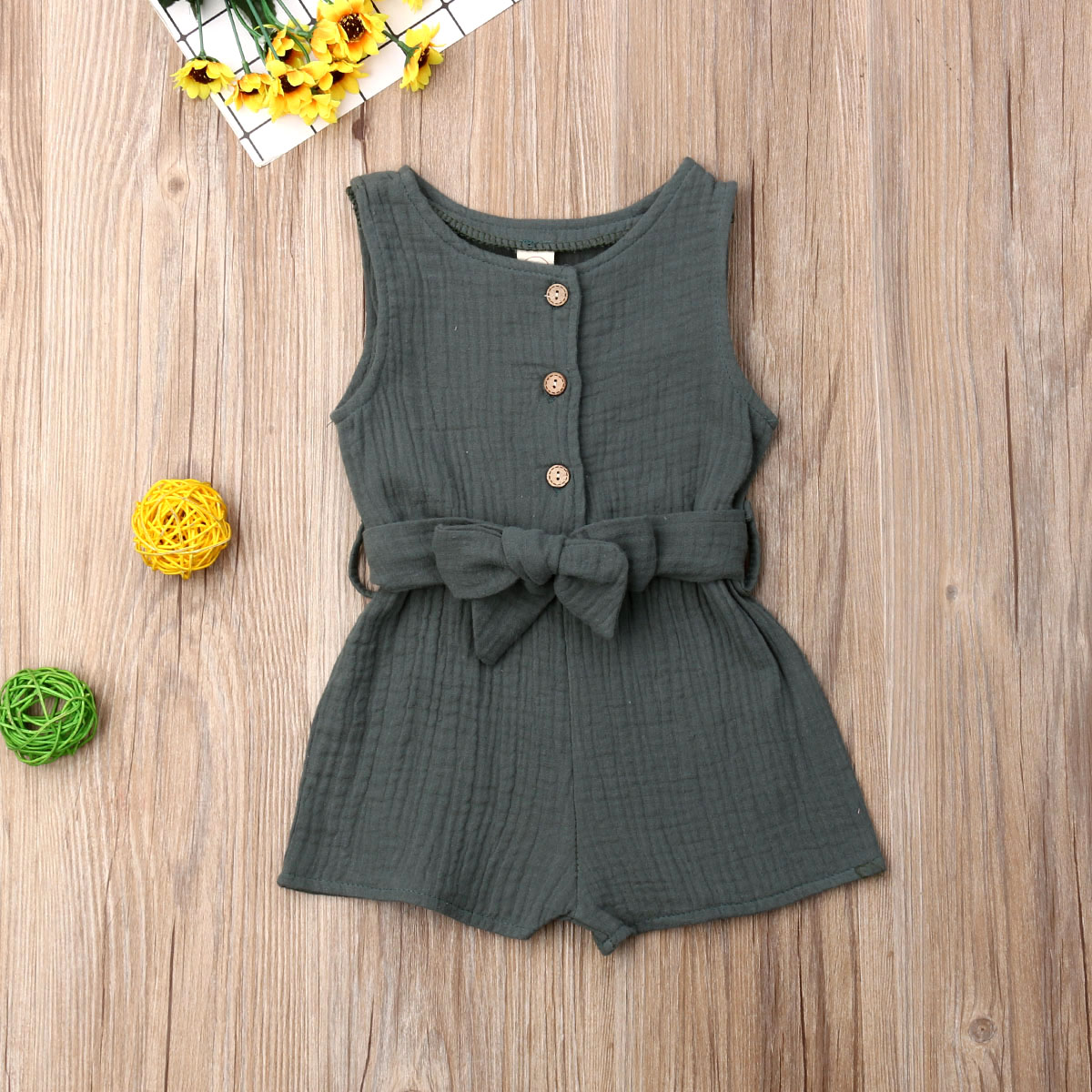 Pudcoco Summer Newborn Baby Girl Clothes Sleeveless Solid Color Cotton And Hemp Romper Jumpsuit Belt One-Piece Outfit Sunsuit