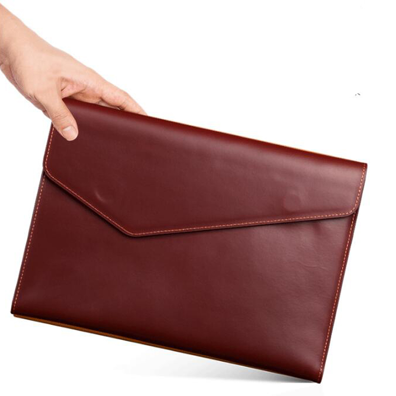 Image 2 - A4 Leather Folder Document Bag Document Paper Organizer Cow Leather File BagFile Folder   -
