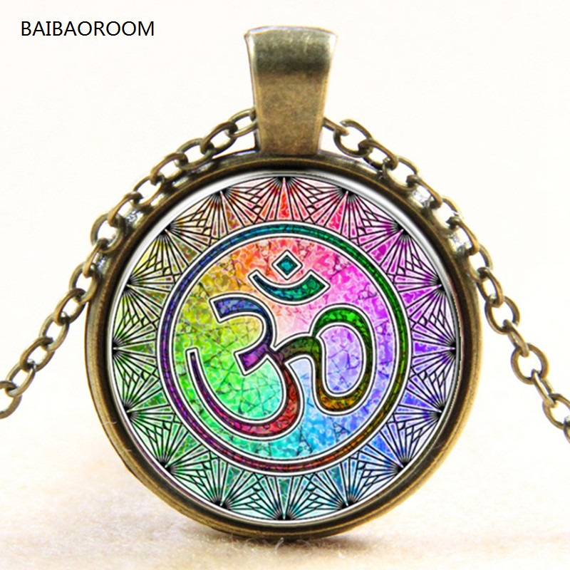 Rainbow OM Yoga India gem of time Europe and the new glass pendant necklace sweater chain necklace