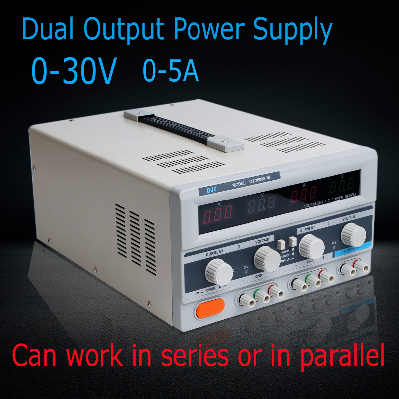 High Power 30V 5A Dual Output Power Supply, 220V AC/ DC Power Supply Voltage Regulators Laboratory power supply transformer qj3005t variable linear input voltage 110v ac dc led digital voltage regulators power supply adjustable 0 30v 0 5a power supply