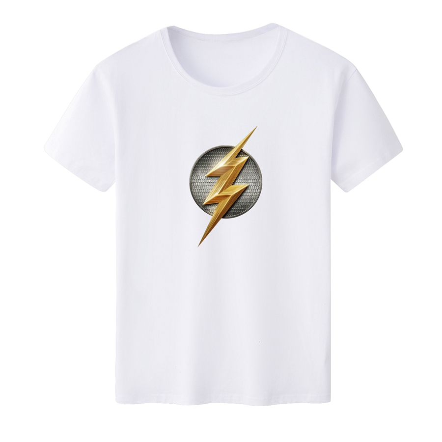 The Flash T-shirt for Men's T-shirt Casual Tee Summer Tee Top T Shirt Solid White T-shirt Customizable Wholesale