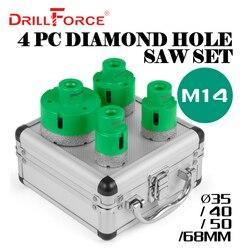 Drillforce 4 шт алмазные отверстие Набор пил 35/40/50/68 мм M14 прочный керамики Карборунда M14 резьба буровой стержень