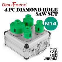 Drillforce 4 pçs diamante buraco serras conjunto 35/40/50/68mm m14 carborindo durável cerâmica núcleo de broca de rosca m14