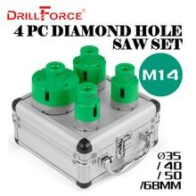Drillforce 4 pcs 다이아몬드 구멍 톱 세트 35/40/50/68mm m14 내구성 carborundum 도자기 m14 스레드 드릴 코어