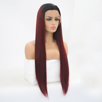 QQXCAIW Women Glueless Long Straight Blonde Black Lace Front Wig Black Ombre Heat Resistant Synthetic Natural Hairline Hair Wigs
