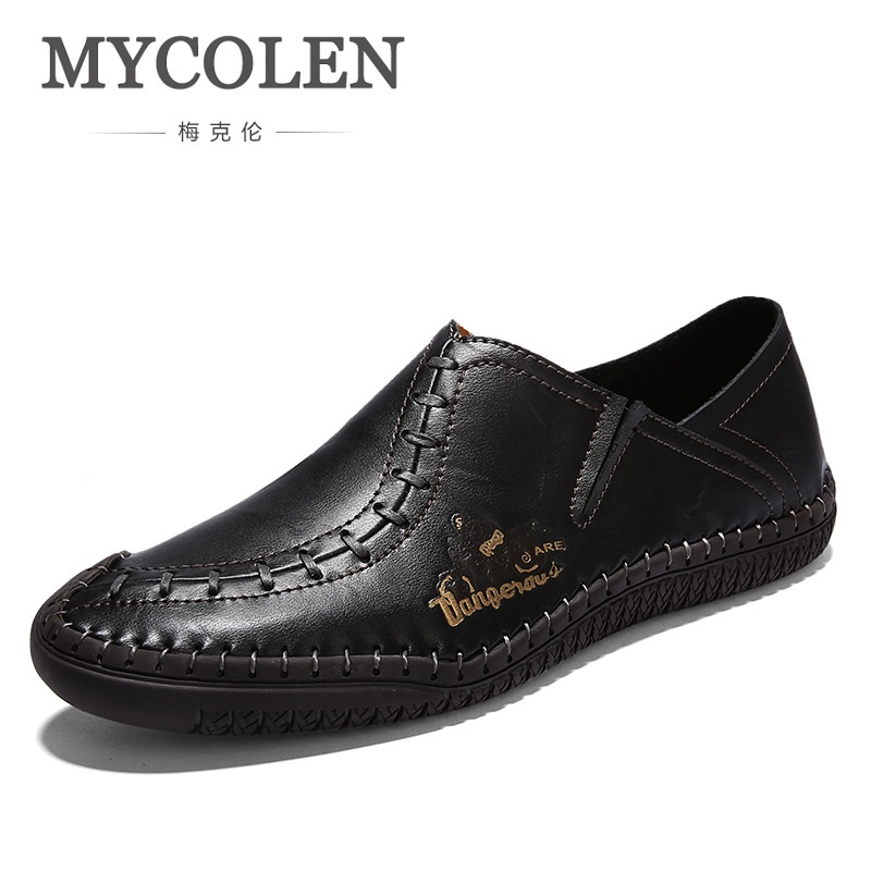 MYCOLEN Casual High Quality Black low Top Shoes men casual Handmade shoes genuine leather zapatillas hombre deportivas casual casual dancing sneakers hip hop shoes high top casual shoes men patent leather flat shoes zapatillas deportivas hombre 61