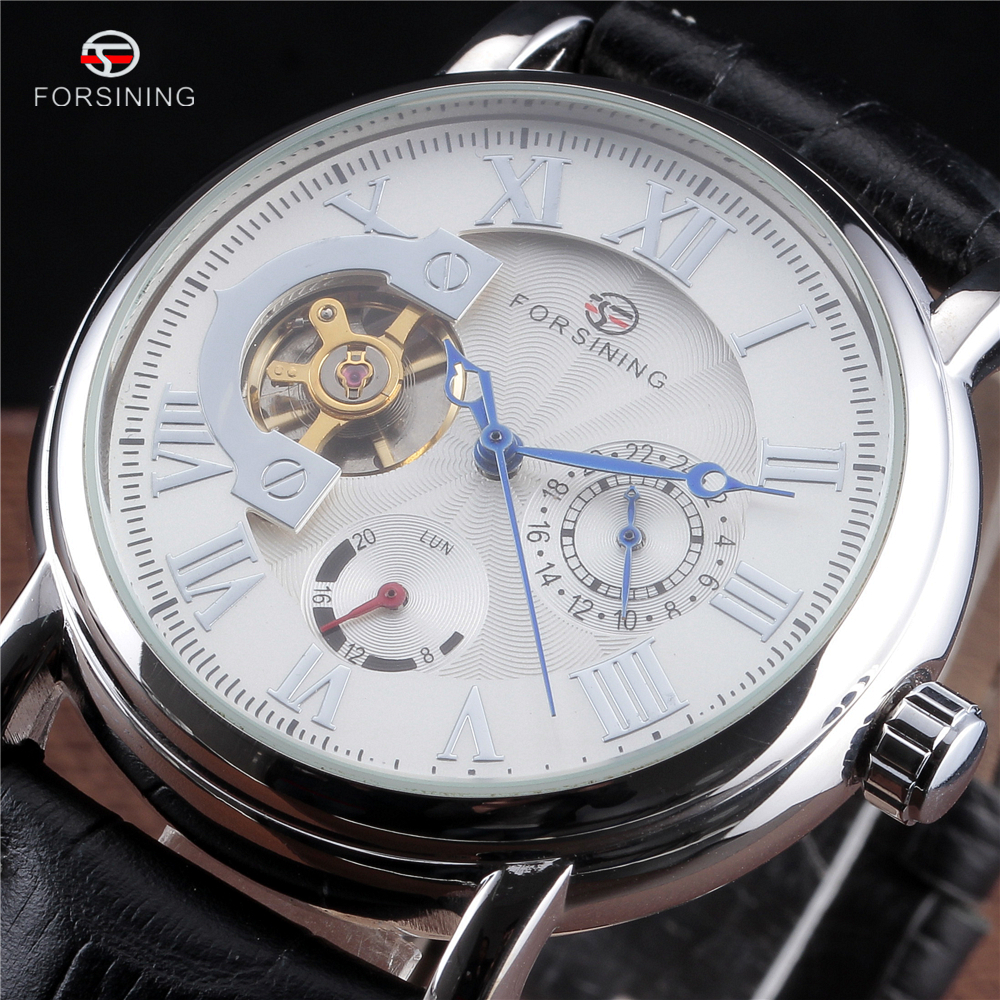 Forsining Automatic Men Watch Roman Tourbillon Men's Classic Wristwatches Luxury Brand Mechanical Leather Strap Skeleton Watches forsining tourbillon mens watches top brand luxury genuine leather strap men casual watch mechanical wristwatches men erkek saat