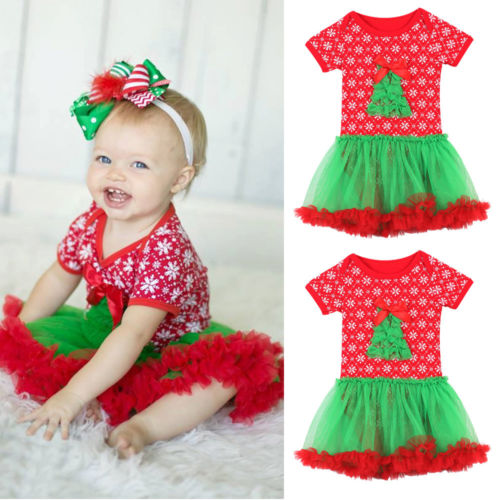 Pudcoco Newborn Christmas Rompers Toddler Infant Baby Girl Tulle Dress Jumpsuit Short Sleeve Cotton Snowflake Print Clothing baby clothing summer infant newborn baby romper short sleeve girl boys jumpsuit new born baby clothes