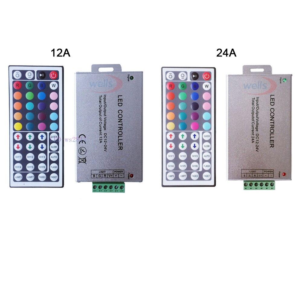 Free Shipping DC12V-24V 12A 24A 44key IR Wireles Remote Led RGB Controller 44key IR Dimmer For 3528 5050 RGB Led Strip Lights