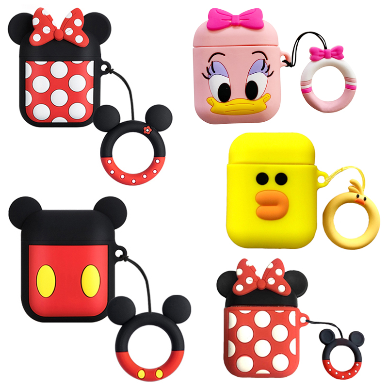 For AirPods Case Silicone Cute Cartoon Bluetooth Earphone Case For Airpods 2 Headphone Case For Apple Air pods Cover With Strap