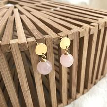 Romantic Pure 925 Sterling Silver Pink Stud Earrings For Women Natural Round Rose Quartz Beads Earrings Fine Jewelry Girl Gift