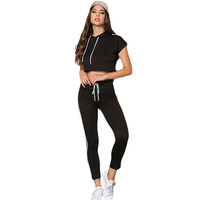 Conjunto Feminino White/Black/Grey Long Pant Hoodied Crop Top Long Pant Two Piece Set Jogger Women Suits Casual