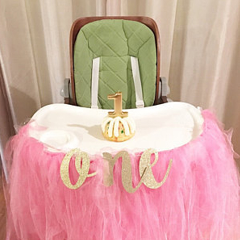 Gold Glitter ONE Banner for Prince Princess Baby boy girl 1st first Birthday Party High kids Chair Car Decor Supplies photo prop
