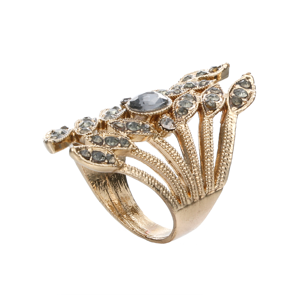Vintage Stainless Steel Index Finger Rings for Women Water Plants Geometric Shape Crystal Anel Ring Jewelry Retro Bague Ring New