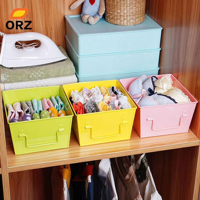 ORZ 3PCS Storage Baskets Metal Holder Kitchen Fruit Food Bathroom Underwear  Socks Colorful Home Chest Storage