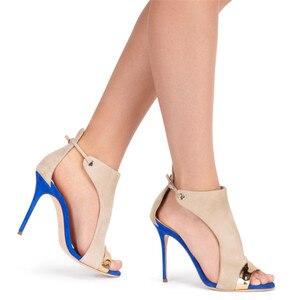 Image 5 - MORAZORA 2019 large size 35 45 women Gladiator sandals flock buckle summer stiletto high heels shoes sexy fashion wedding shoes