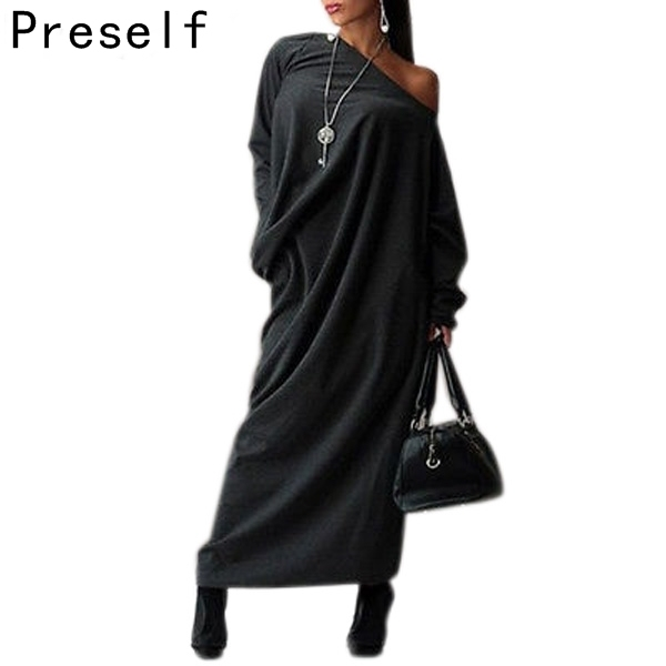 2e82e4f55 Preself Fall and Spring Casual Loose Knit Maxi Off-Shoulder Wrap Dress  Vestidos with Long