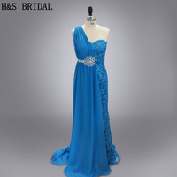 Real Photo Designer Blue Lace Mermaid Evening Gown One Shoulder Stone Beaded Elegant Evening Dress
