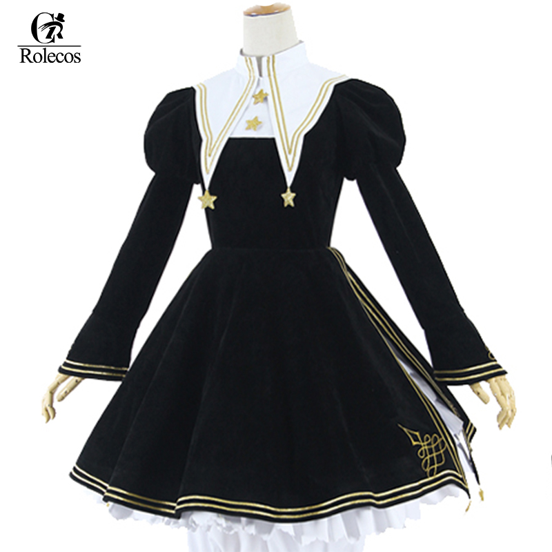 Rolecos Anime Cardcaptor Card Captor Sakura Kinomoto Sakura Cosplay Costume Gothic Lolita Dress Girls Retro Clothing Party Dress