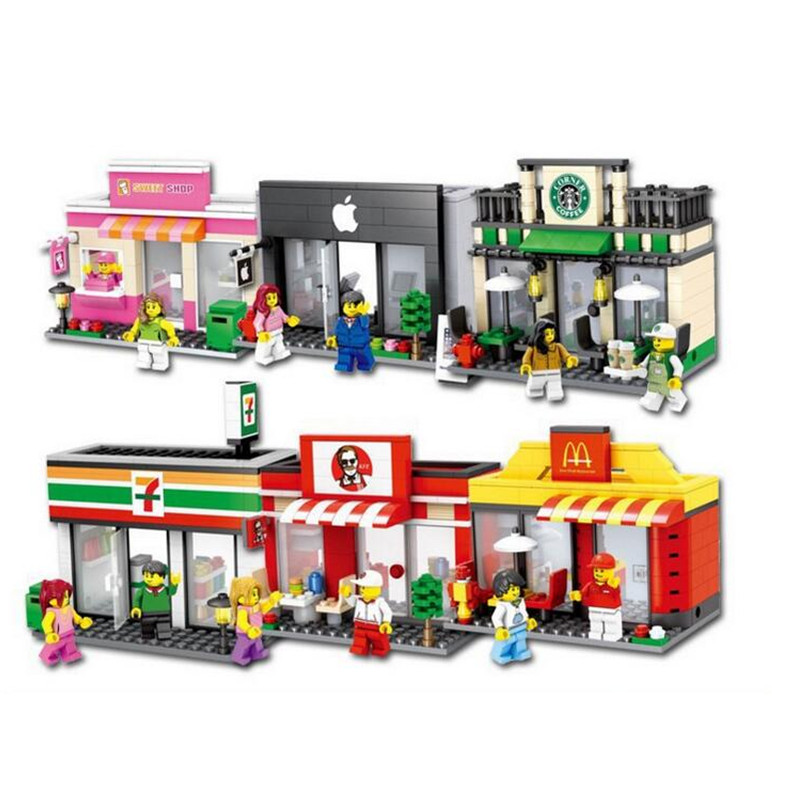 HSANHE City Series Mini Street Store Shop Figure Blocks Christmas Gift Construction Building Bricks Toys For Children