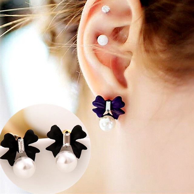 E974 New Fashion Bowknot Stud Earrings For Women Jewelry Simulated Pearls Crystal Bow Earring Mujer Brincos