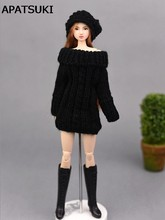 Black Handmade Knitted Woven Sweater For Barbie Doll Clothes Tops Coat Dress Doll Clothes Gifts For Kids Toy Doll Accessories(China)
