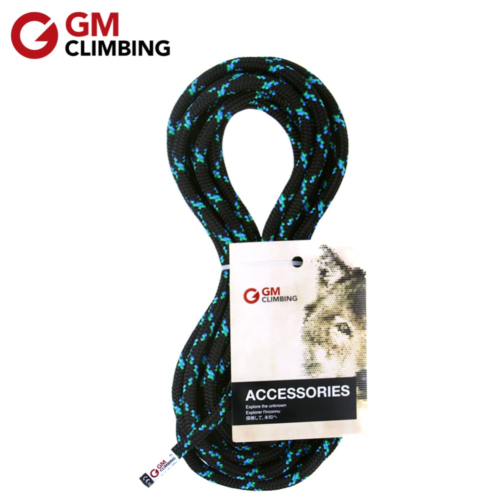 GM CLIMBING  Black Double Braid 8mm Accessory Cord Rope CE / UIAA 19kN Polyester Climbing Equipment For Arborist Caving