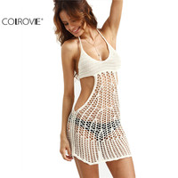 COLROVE 2016 Summer Women Sheath Dresses Sexy Beige Cutout Hollow Out Crochet Sleeveless Bodycon Halter Mini