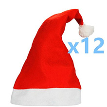 12Pcs lot Christmas red non woven Christmas hat toys