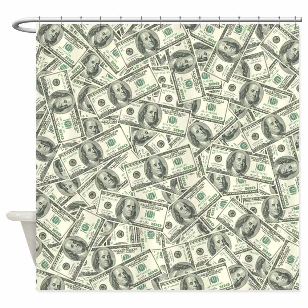 100 Dollar Bill Money Pattern - Decorative Fabric Shower Curtain (69