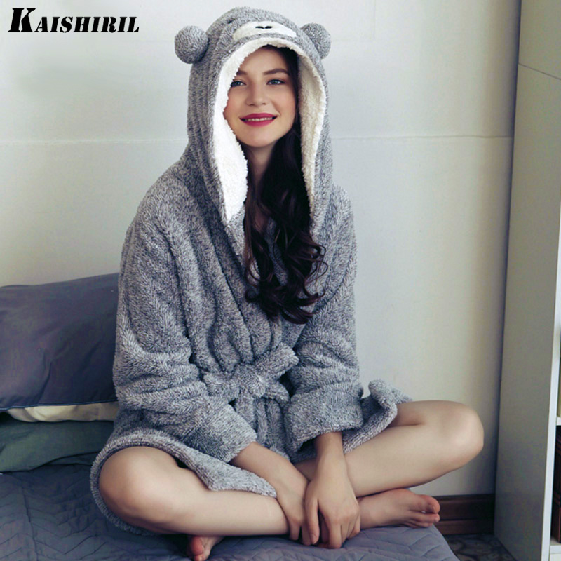 Women Winter Warm Flannel Bath Robe Women Long Towel Bathrobe Women Dressing Gown Female Cute Bear Kimono Sleepwear Bride Robe