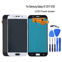 AMOLED לסמסונג גלקסי A7 2017 A720 A720F SM A720F LCD תצוגת מסך מגע digitizer עצרת עבור גלקסי A7 2017 טלפון חלקי