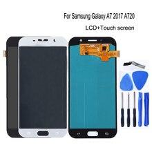 Amoled para samsung galaxy a7 2017 a720 a720f SM A720F lcd screen display toque digitador assembléia para galaxy a7 2017 peças de telefone