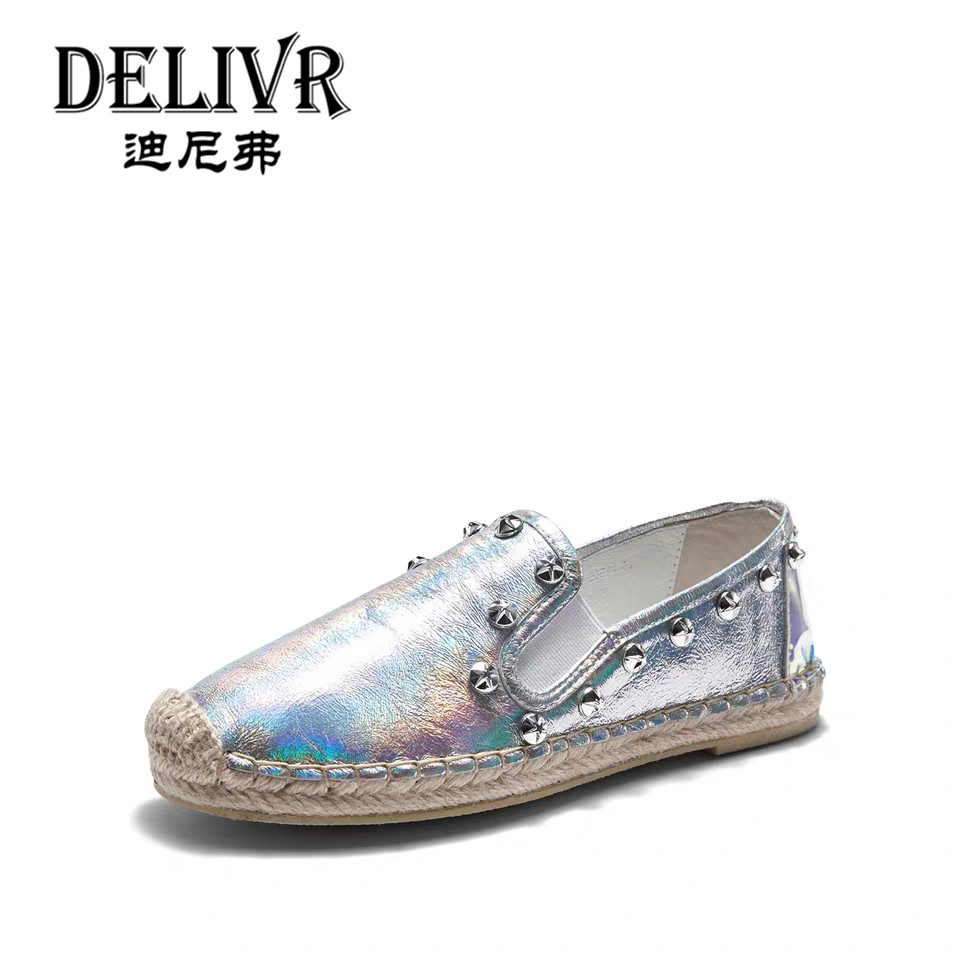 Delivr Casual Women Shoes Flats With Fashion Ladies Casual Shoes Slip-On Rivets Genuine Leather Comfortable WomenS Shoes SilverDelivr Casual Women Shoes Flats With Fashion Ladies Casual Shoes Slip-On Rivets Genuine Leather Comfortable WomenS Shoes Silver