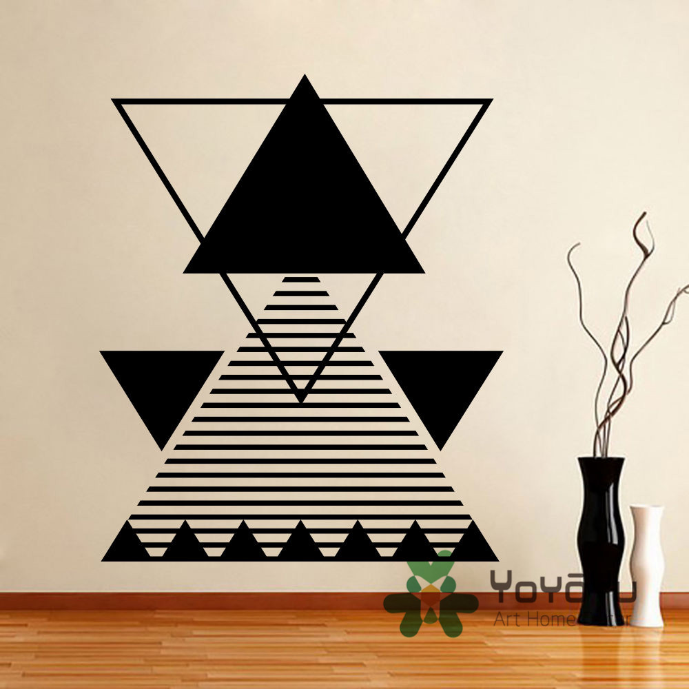 Fashion Triangle Wall Decal Abstract Line Vinyl Sticker Geometric Shape Home Decor living Room Stickers Muraus Poster NY-112(China)