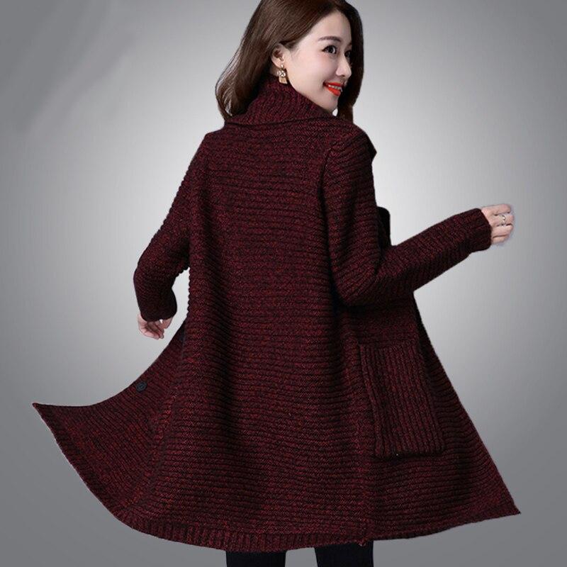 Chandail d'extérieur pour femmes 2019 nouveau hiver femme moyen-long cardigan épais à manches longues automne lâche maman tricoté manteau