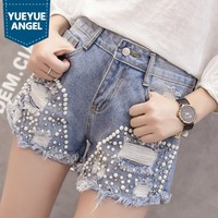 Beading High Waist Shorts for Womens Jeans High Street Hole Tassel Denim Shorts Girls Casual Short Pants Frayed Pearls Hot Pants