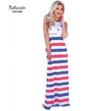 853bef181 Baharcelin جديد الصيف اللباس النساء فتاة مثير س الرقبة مخطط المرقعة الوردي  نجمة فستان ماكسي فساتين