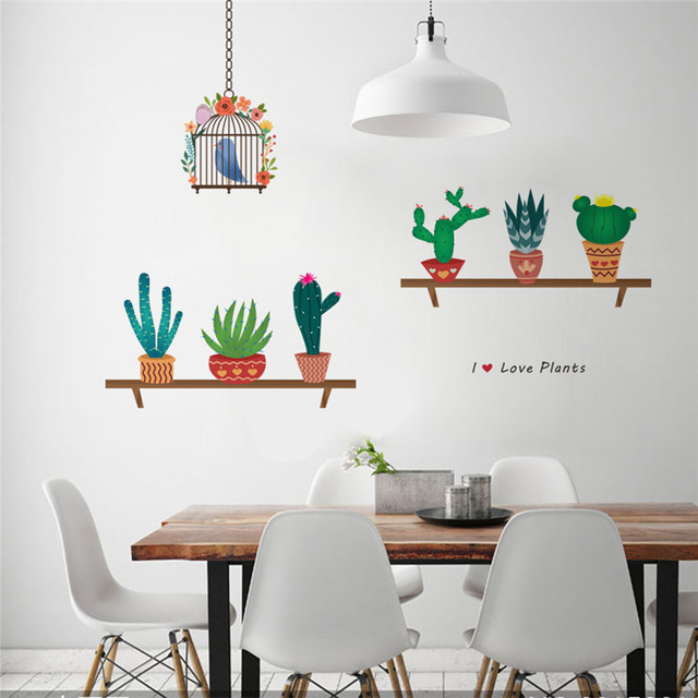 Garden Plant Flying Birds Birdcage Wall Sticker Home Decoration Mural Decal  Living Room Bedroom Kitchen Decor
