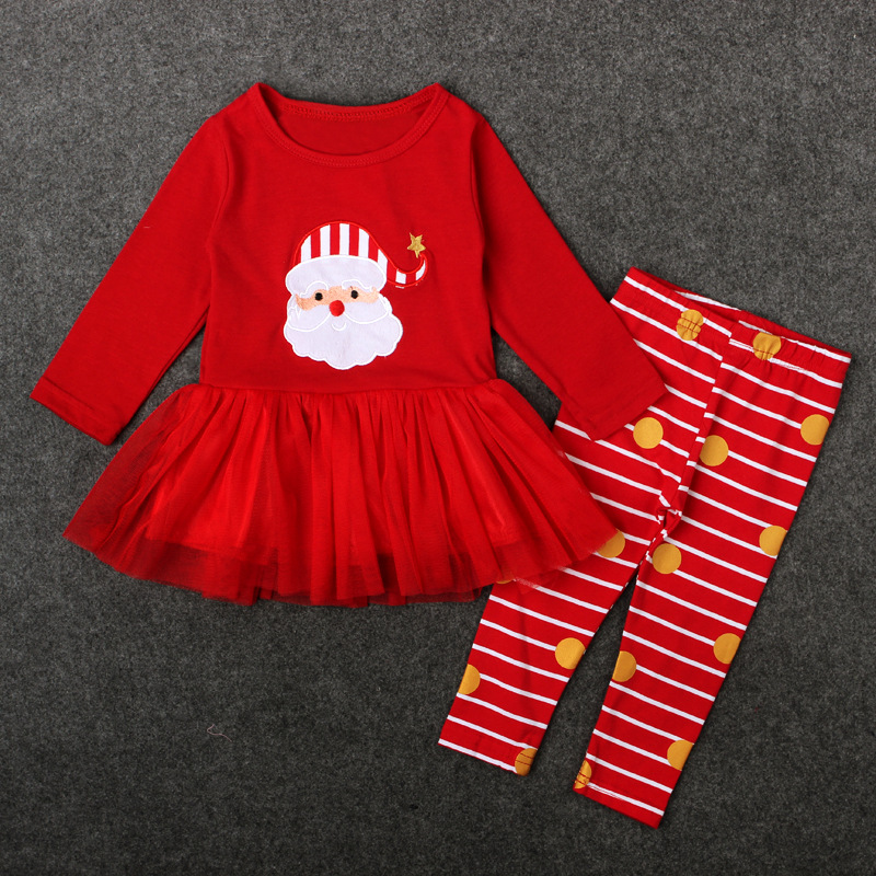 Children Toddler Tutu Long Sleeve Striped Legging Autumn Clothes Set Cotton Baby Christmas Santa Dresses Girls Red Outfits girls tracksuit long sleeve autumn clothes set striped hood shirt