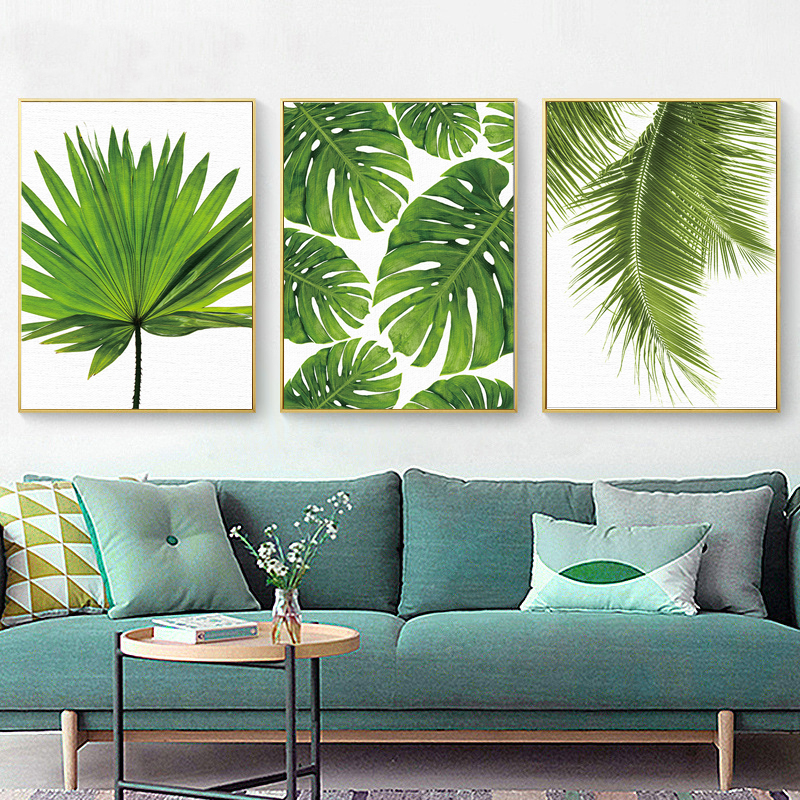 Tropical Banana Leaf Canvas Painting Fresh Palm Leaves