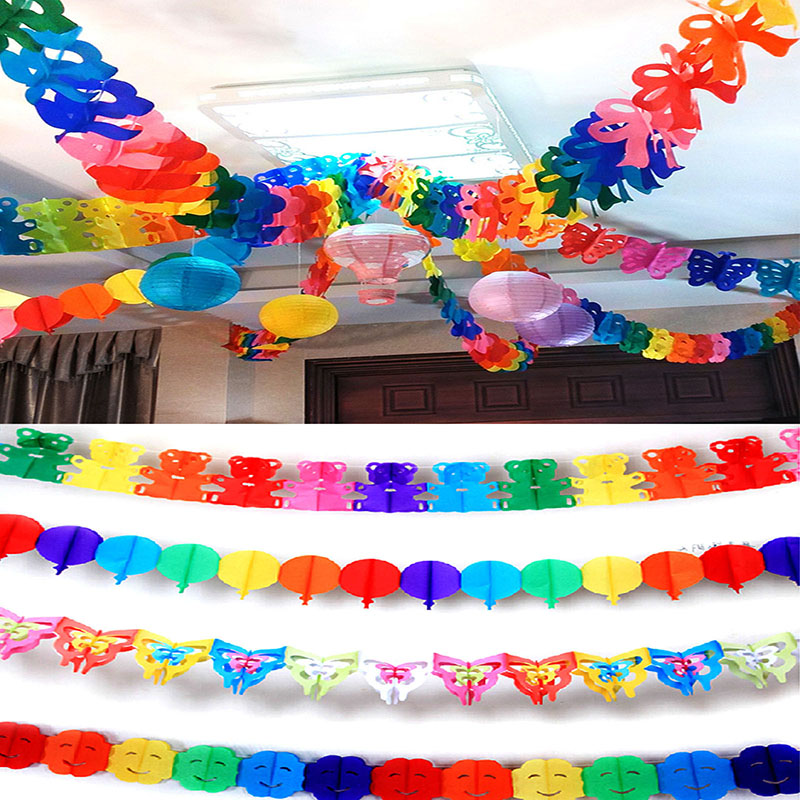 5pcs Party Wedding Decoration Paper Garland Buntings Pompom Garland Diy Outdoor Party Decorations Honeycomb Ball 5zsh805 In Banners Streamers