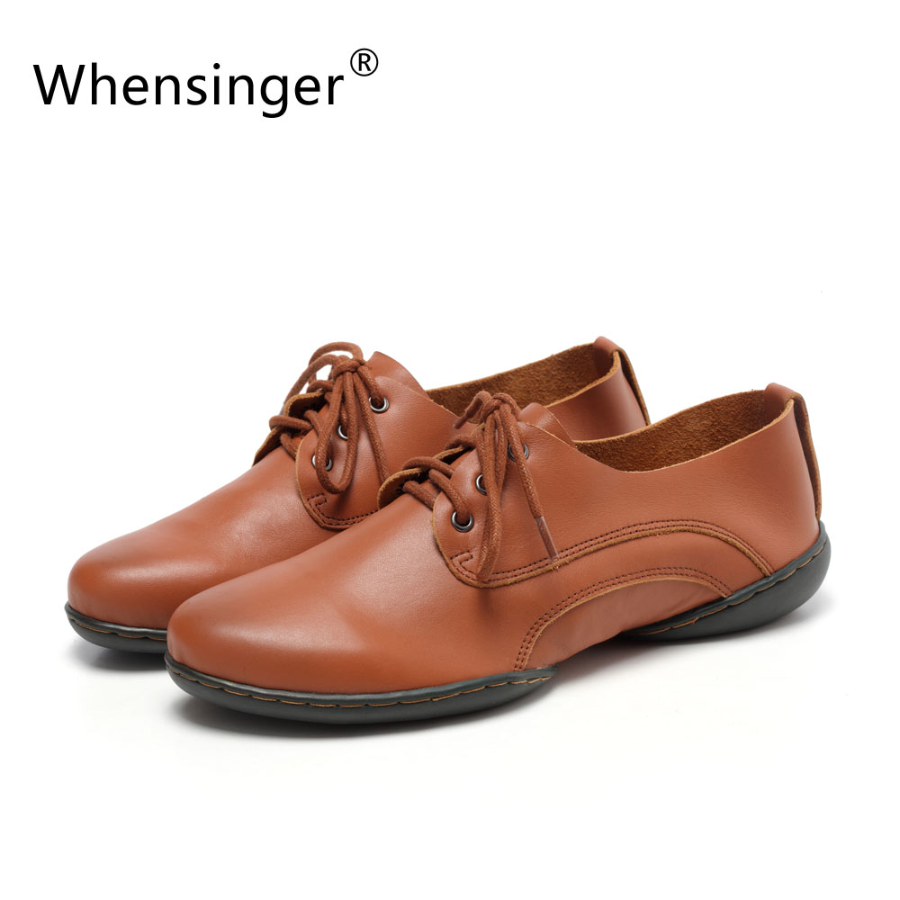 ФОТО Whensinger - 2017 Woman  Shoes Handmade Genuine Leather Casual Solid Lace-Up Vintage Style D1509