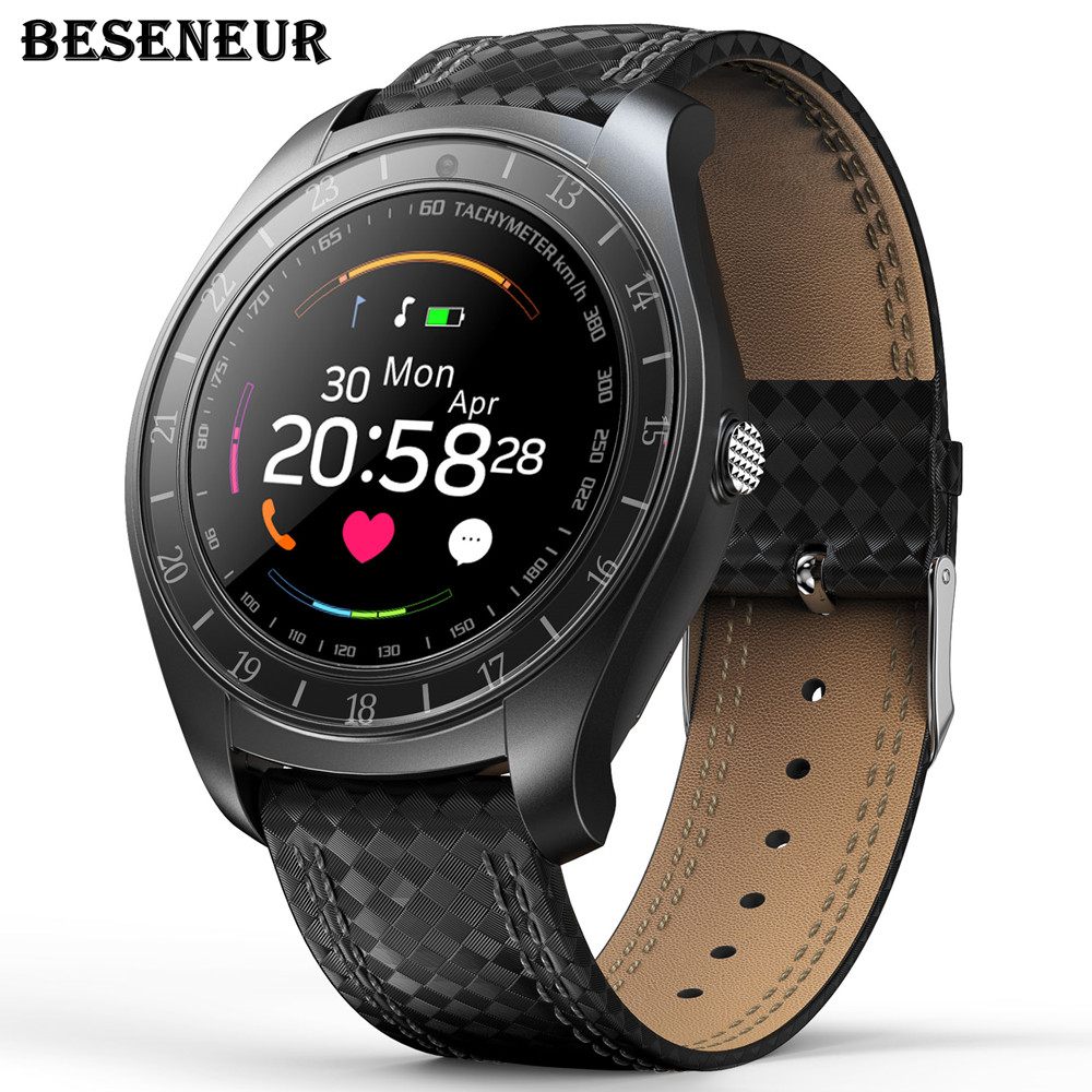 Beseneur V10 Smart Watch Android Heart Rate Monitor Sim Card Smartwatch Camera Bluetooth Pedometer Wearable Device