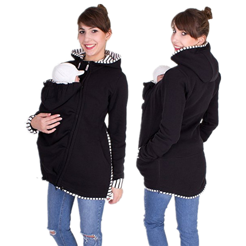 Womens Maternity Pregnancy Coat Hoodie Kangaroo Pocket Carrier Baby Holder Zipper Jacket Overcoat Sweater Jumper Ladies Striped Thick Winter Warm Slim Long Sleeve Warm Loose Long Outwear Blouse Top